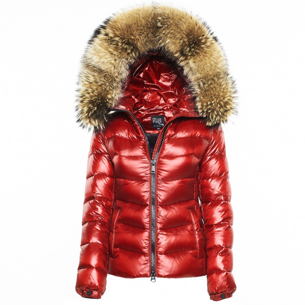 "Finnraccoon winterjacket We Love Furs Puffer Jacket with Fur Hood ""IceRed"" Finnraccoon"