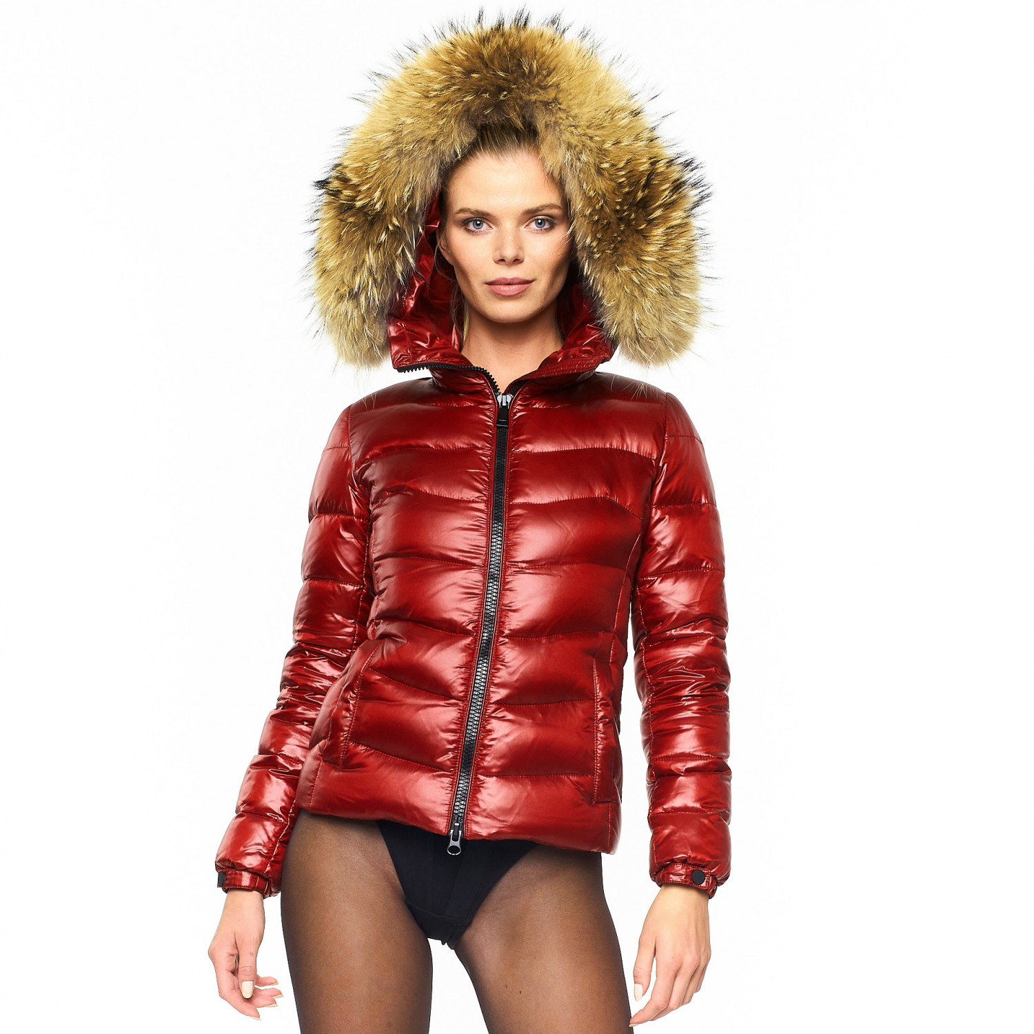 "Puffer Jacket with Fur Hood ""IceRed"""