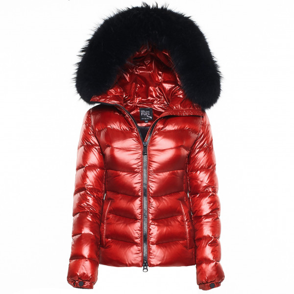 "shiny red We Love Furs Puffer coat with Fur Hood ""IceRed"" black"