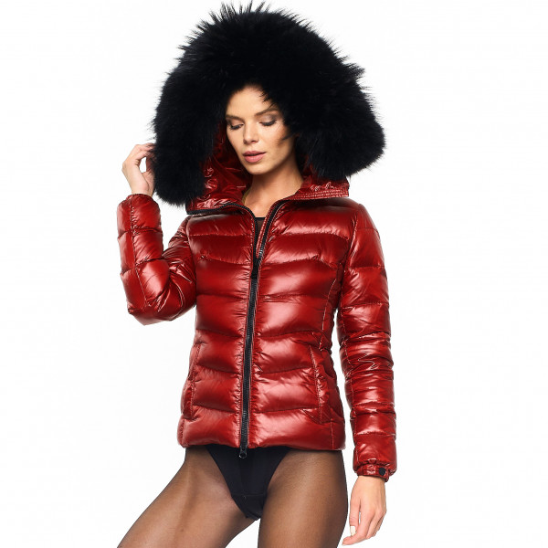 "Raccoon warm We Love Furs Puffer Jacket with Fur Hood ""IceRed"" black"