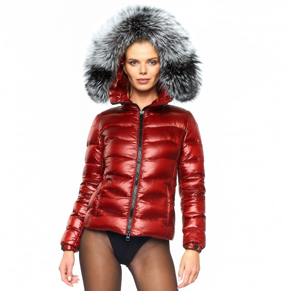 "Silverfox Finnraccoon warm We Love Furs Puffer Jacket with Fur Hood ""IceRed"" black XXLFur"