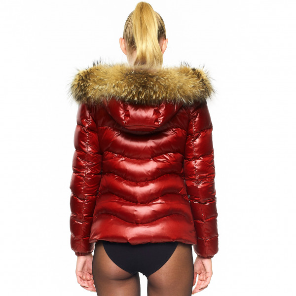 "Down Jacket with Fur Hood ""IceRed"" We Love Furs furhooded"