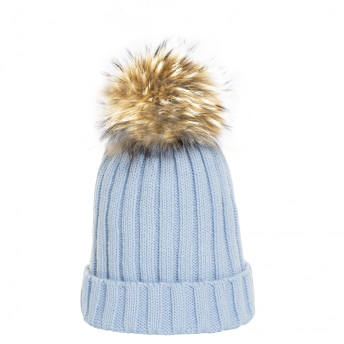 cap with fur pompom babyblue