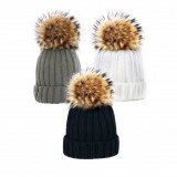 Knit hat with fur bobble in grey
