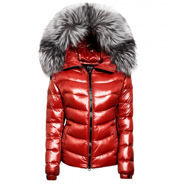"Silverfox Down Jacket with Fur Hood ""IceRed"" We Love Furs"