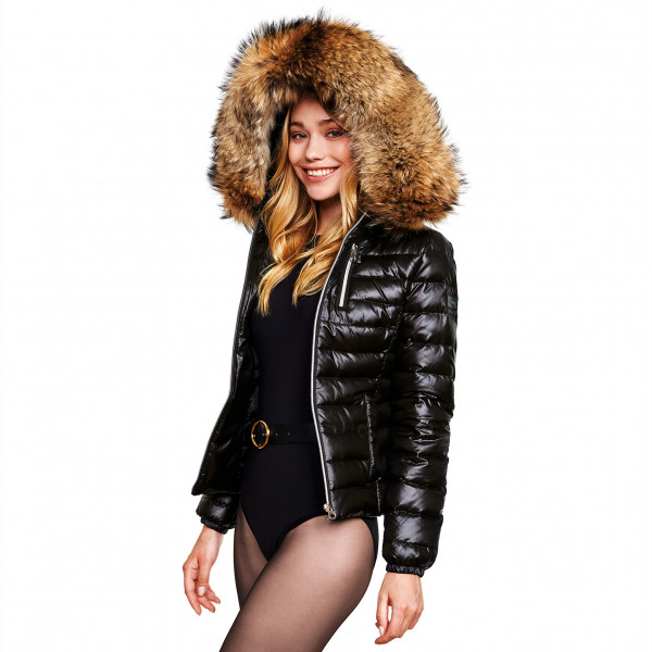 Ladies Down Coat with Fur Hood