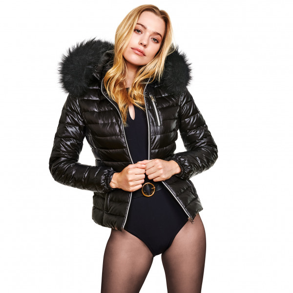 black Down Jacket with XXL Fur Hood in black We Love Furs