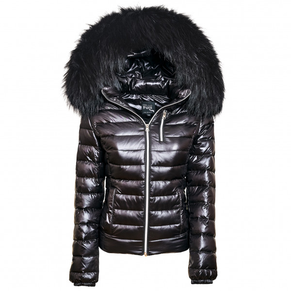 Black shiny Jacket with Fur Hood