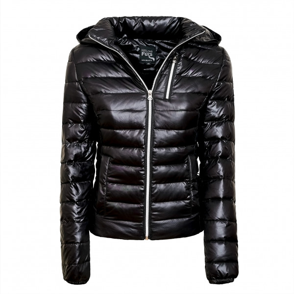 Sporty Down Jacket with Fur Hood