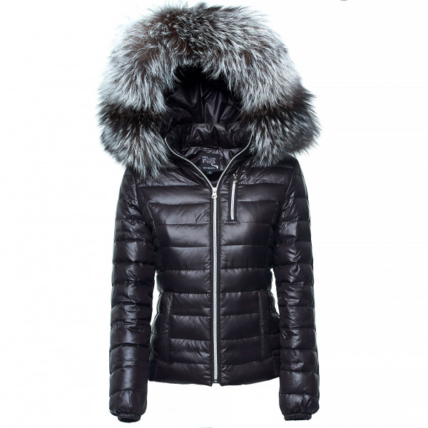 Silverfox warm Winter Coat with Fur Hood