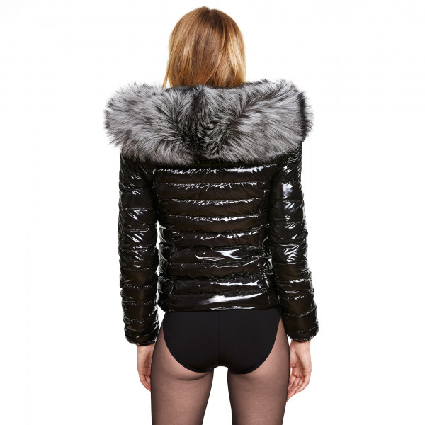 silvergrey We Love Furs Glossy black Downcoat with Fur
