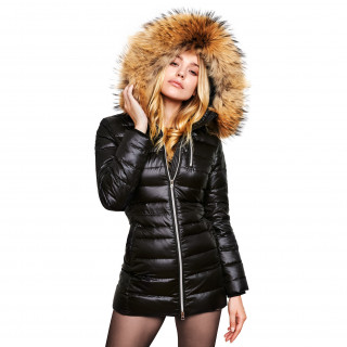 "Finnraccoon Long fur hooded down jacket, ""Majestic Black"" Finnraccoon"