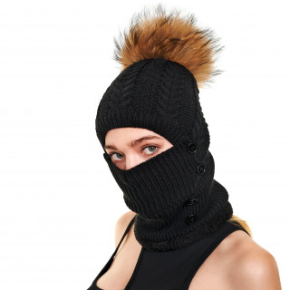 2IN1 fur ball hat with face cover