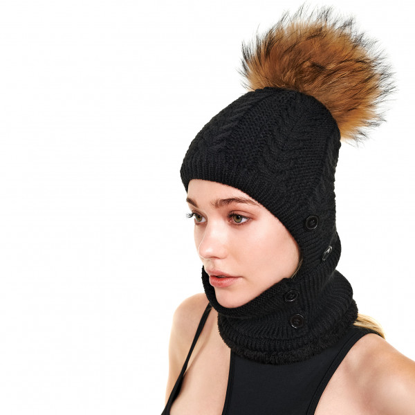black fur ball hat with face cover We Love Furs