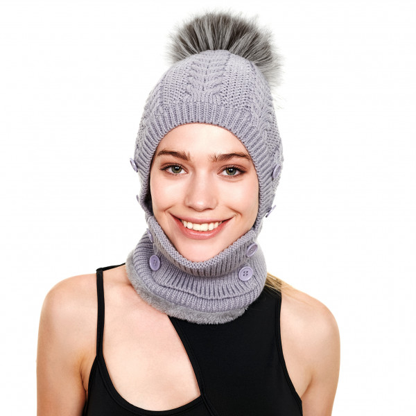 2IN1 fur bobble hat with face cover