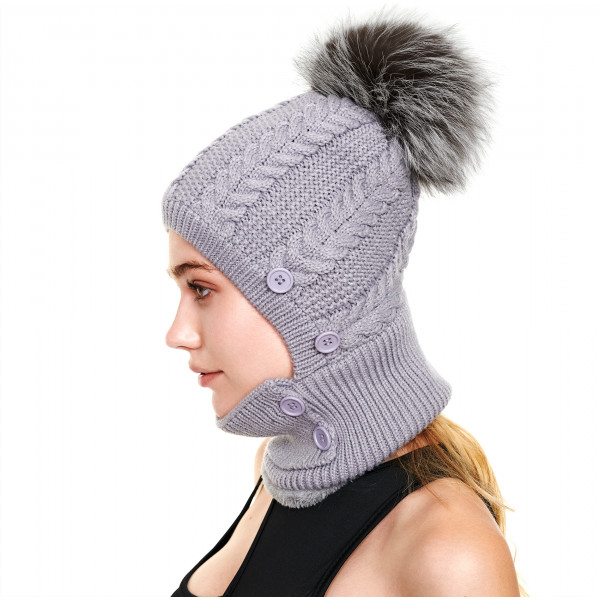 We Love Furs fur bobble hat with face cover Corona