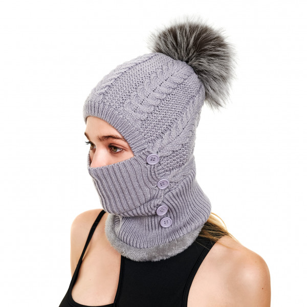 grey fur bobble hat with face cover