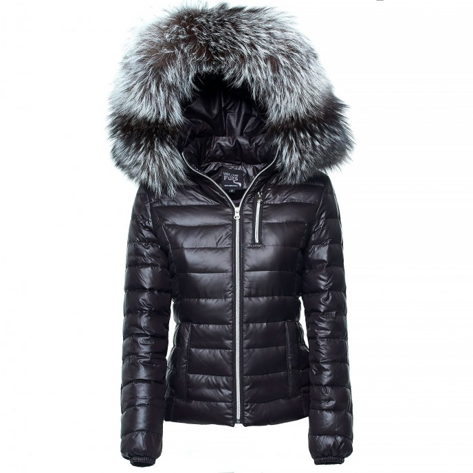 Down Jacket with Fur Hood Silver Edition