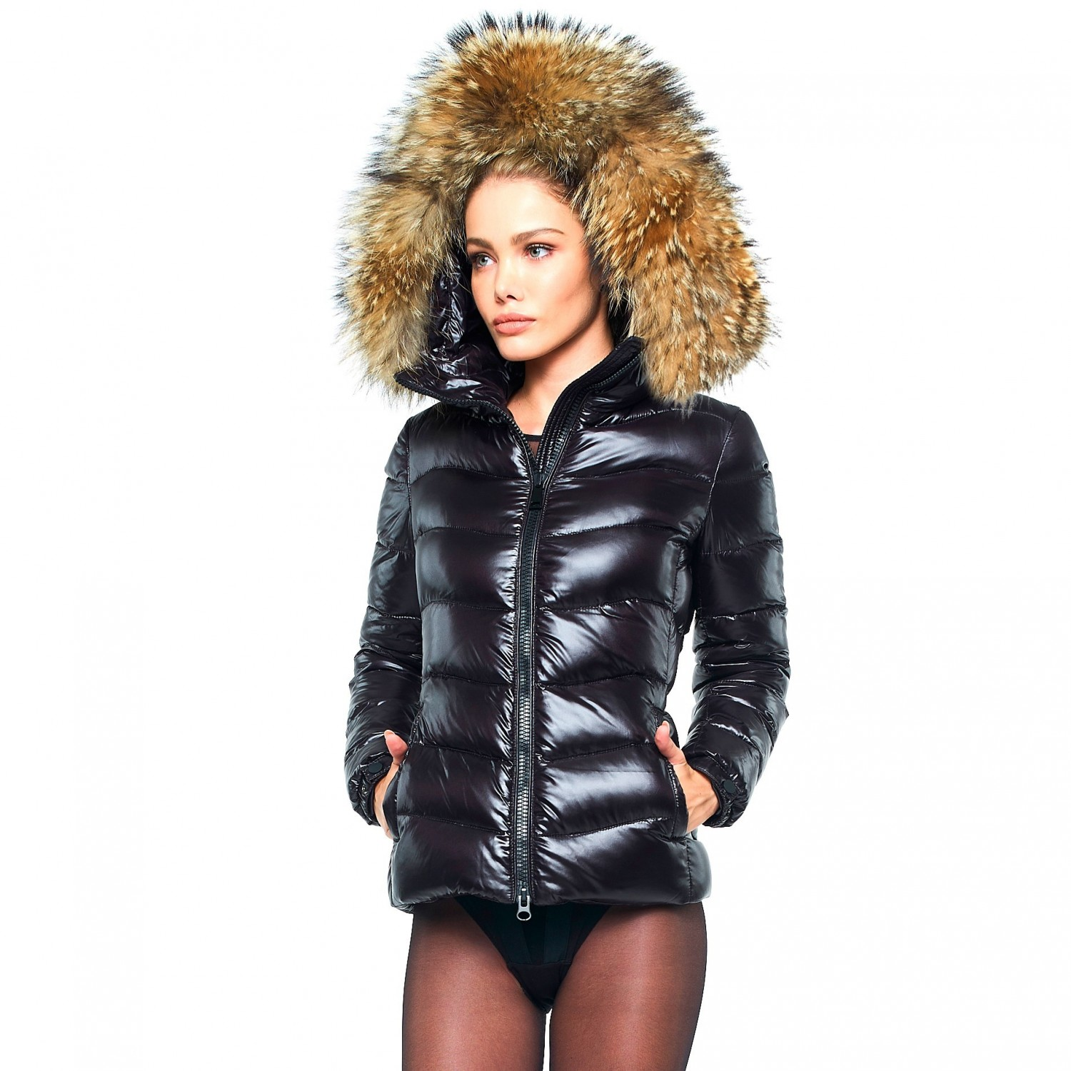 46453a1ae4b0 Puffer Jacket with Fur Hood