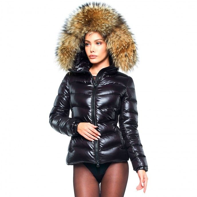 Warm Puffer Jacket with Fur Hood Puffercoat winter jacket