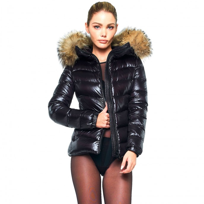 Fur hood Winter jacket downjacket realfur black puffer jacket