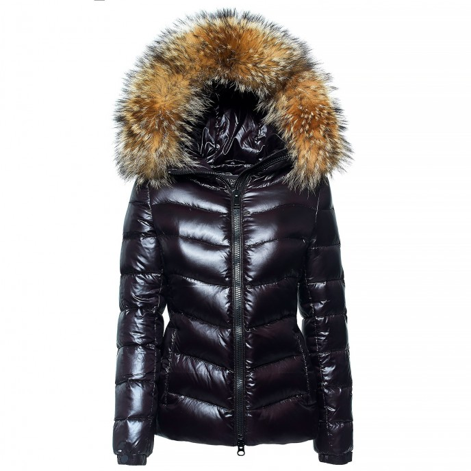 Real fur Puffer Woman jacket winter coat black Downjacket