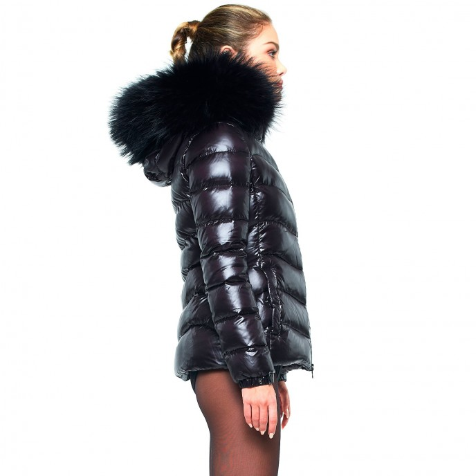 Ladies Puffer Jacket with Fur Hood winterjacket black basic