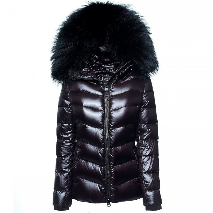 Winterjacket Realfur Puffer Jacket with black Fur Woman ladies coat