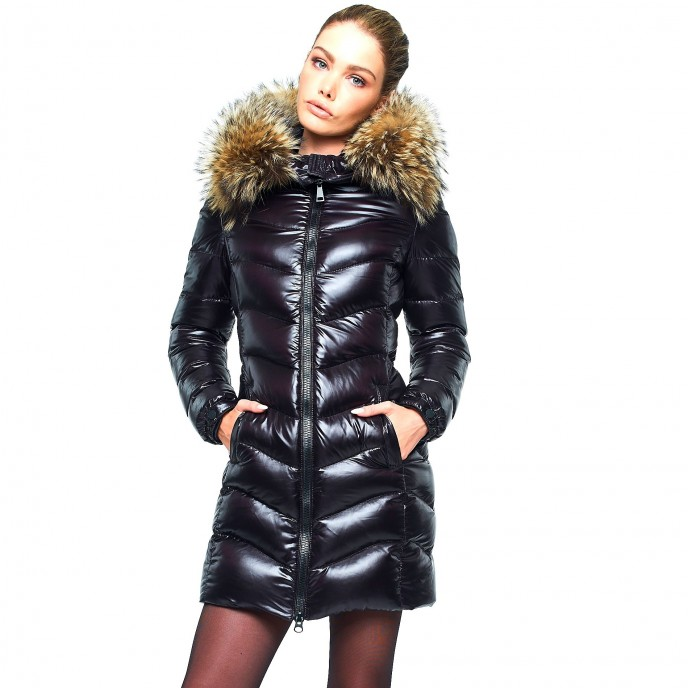 Fur Puffercoat Woman Down Coat with Fur Hood black