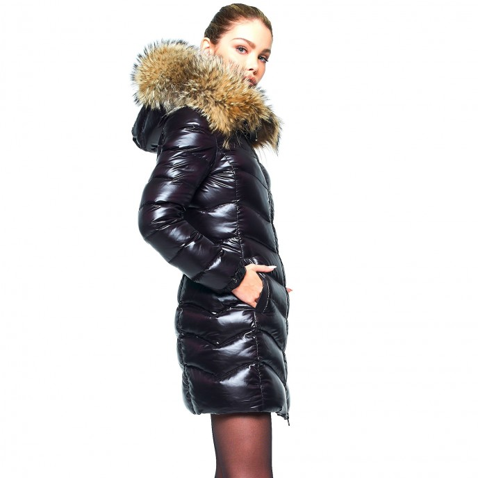 Puffer coat Woman Down Coat with Fur Hood black