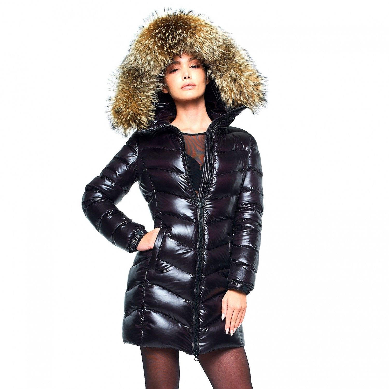 3afc2d8a9ee7 Woman Down Coat with Fur Hood black ...