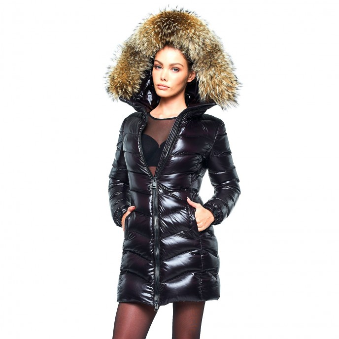 Woman Down Coat Down jacket winter jacket with Fur Hood black