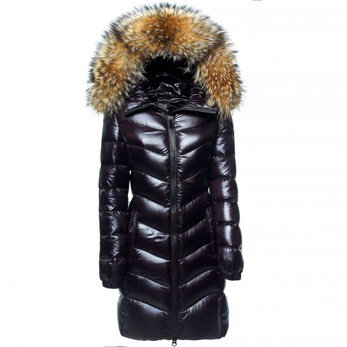 Ladies Woman Down Jacket Coat with Fur Hood black