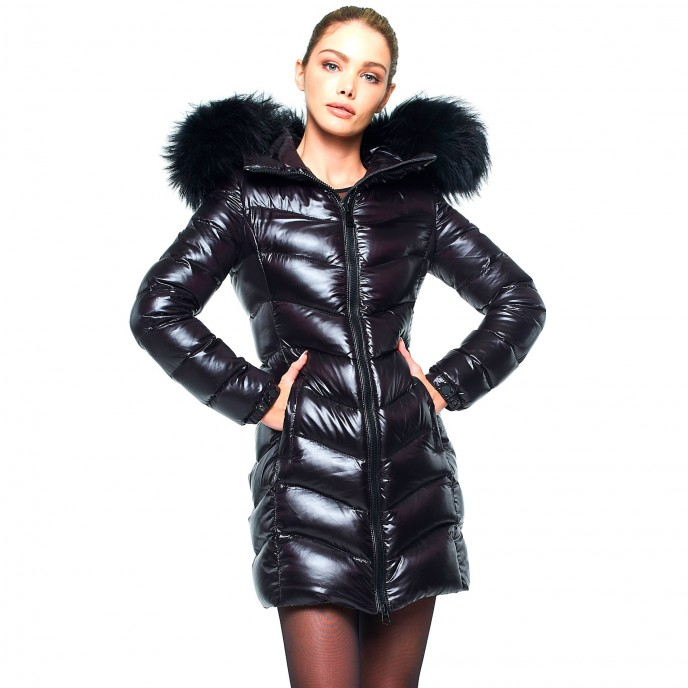 Realfur Winter jacket Woman Down Coat with Fur Hood black