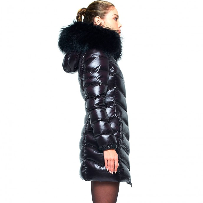 Realfur Winterjacket Puffercoat Woman Down Coat with Fur Hood black