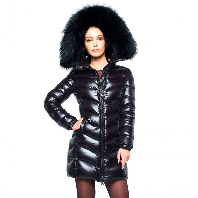 Black Woman Down Coat with Fur Hood black Down jacket winter jacket