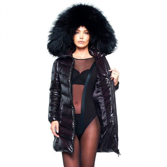 Puffercoat Ladies Woman Down Coat with Fur Hood black