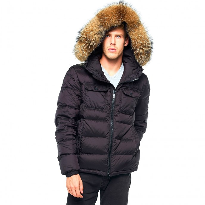Mens Winter Jacket Furhood Realfur Downjacket