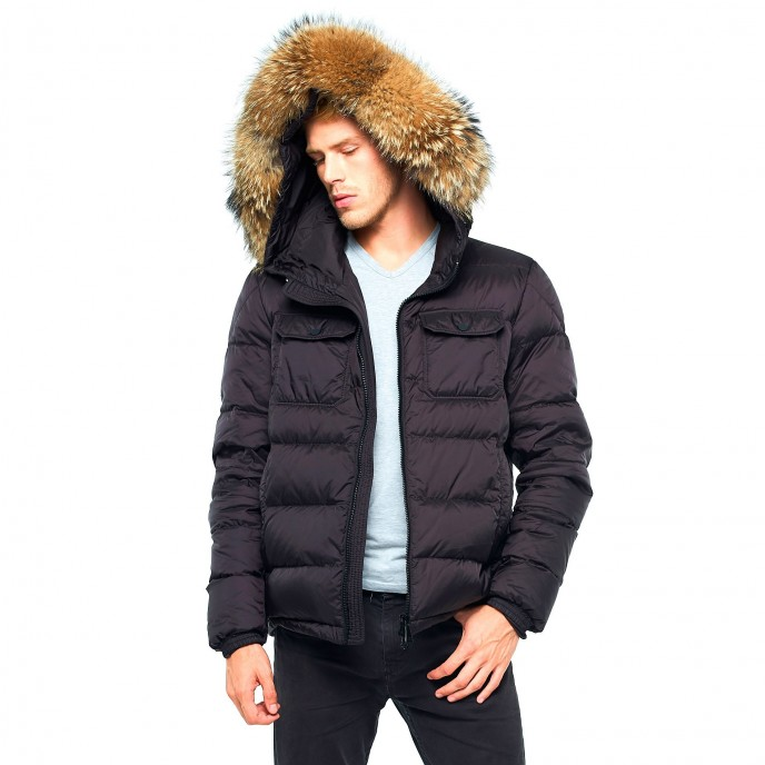 Black Mens Winter Jacket XXL Fur Furhood Realfur Downjacket