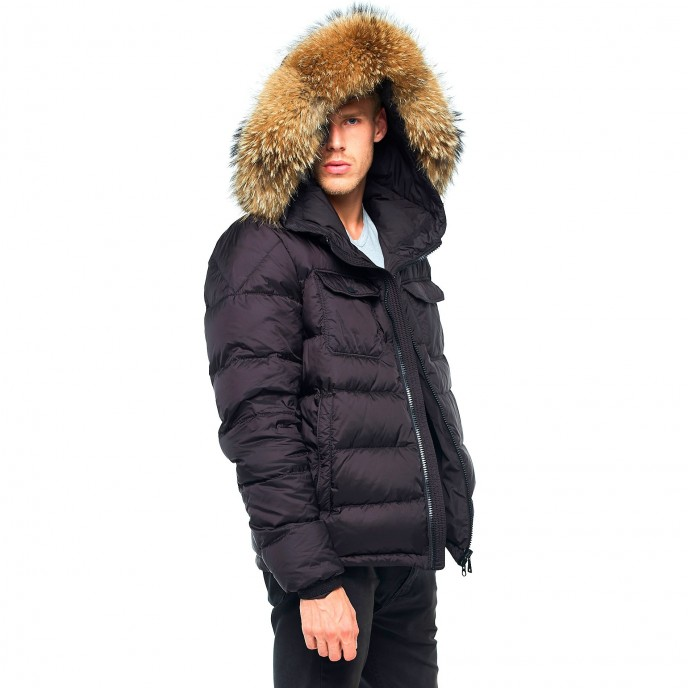 Pufferjacket Mens Winter Jacket Furhood Realfur Downjacket