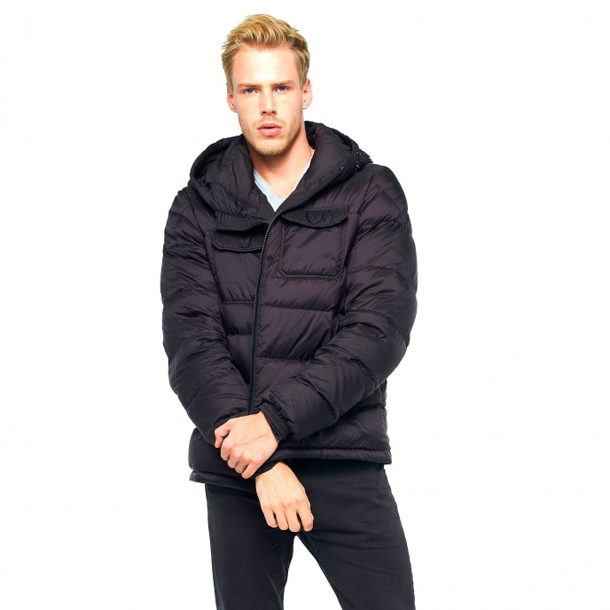 Black Mens Winter Jacket Furhood Realfur Downjacket