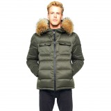 Mens Winter Jacket Furhood Realfur Armystyle Armygreen Downjacket