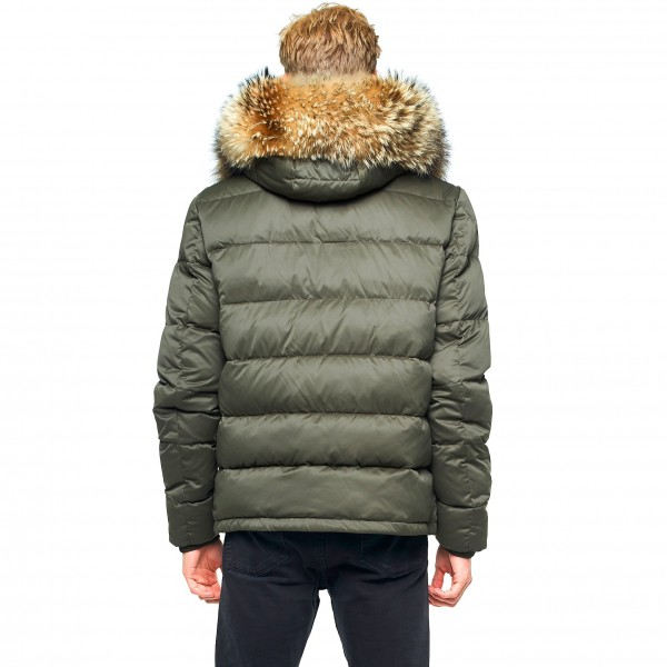 Mens Winter Jacket Furhood Realfur Armystyle Armygreen Downjacket style