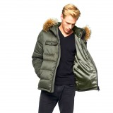 Realfur Mens Winter Jacket Furhood Realfur Armystyle Armygreen Downjacket