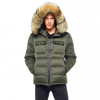 Winter Jacket Furhood Realfur Armystyle Armygreen Downjacket