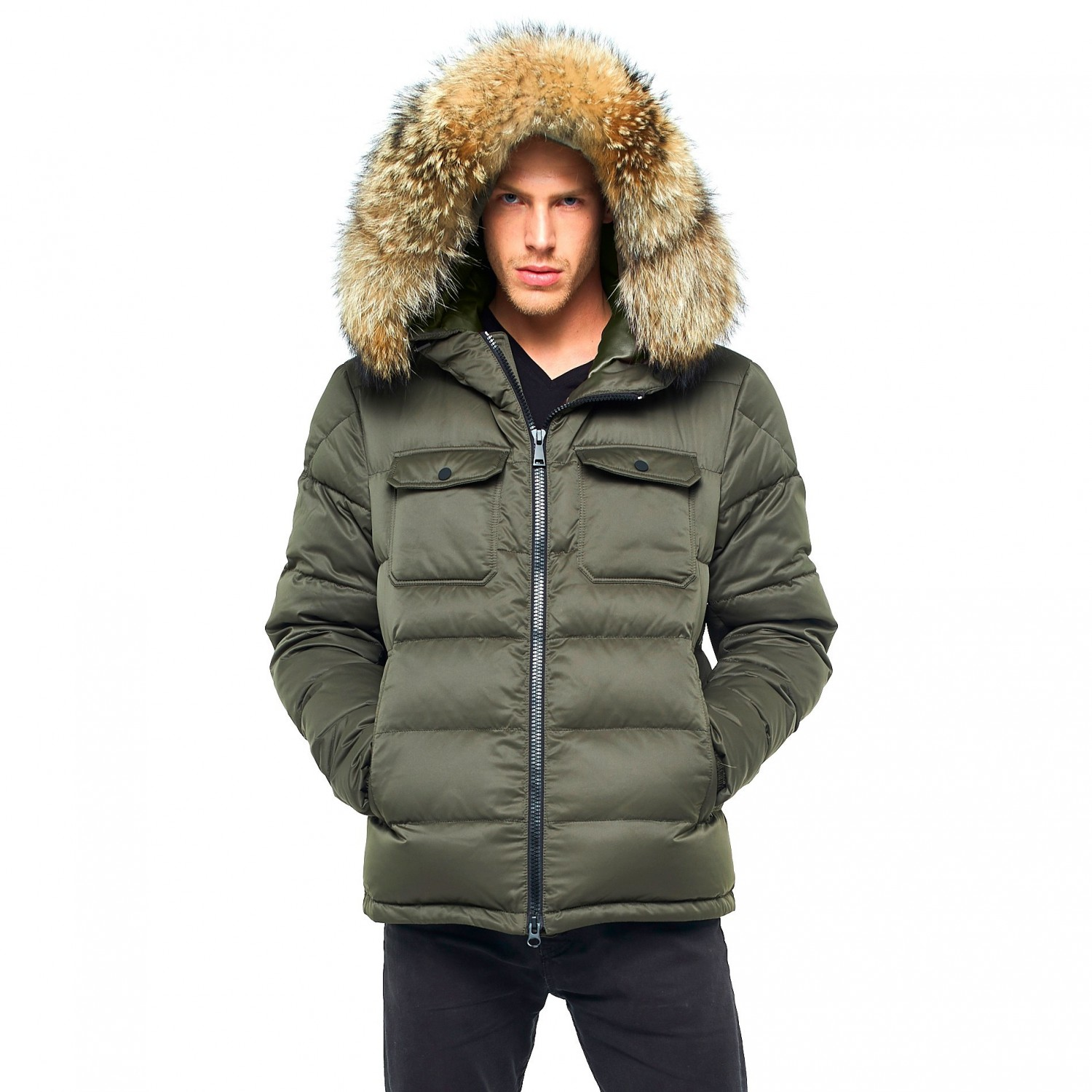 4467f1bb7 Mens Fur hooded downjacket