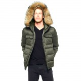 Mens Winter Jacket Coat Furhood Realfur Armystyle Armygreen Downjacket