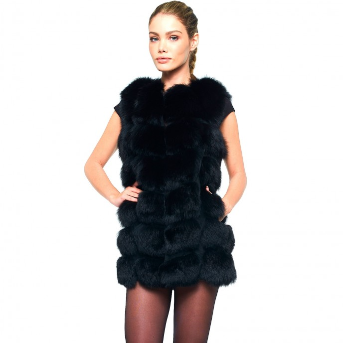 Woman Gilet Real Fur Vest Wintercoat black long