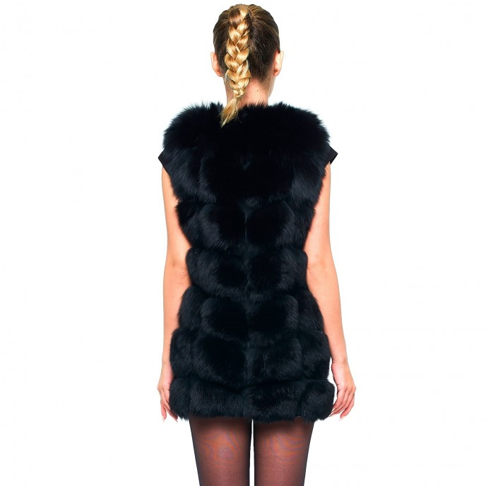 Woman black Gilet Real Fur Vest Winterjacket black long