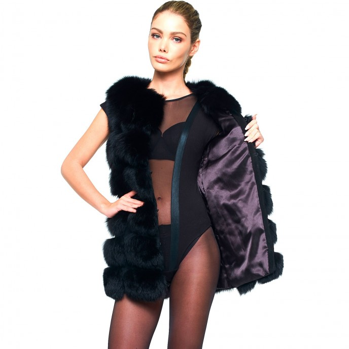 Woman Real Fur Vest Wintercoat black long warm